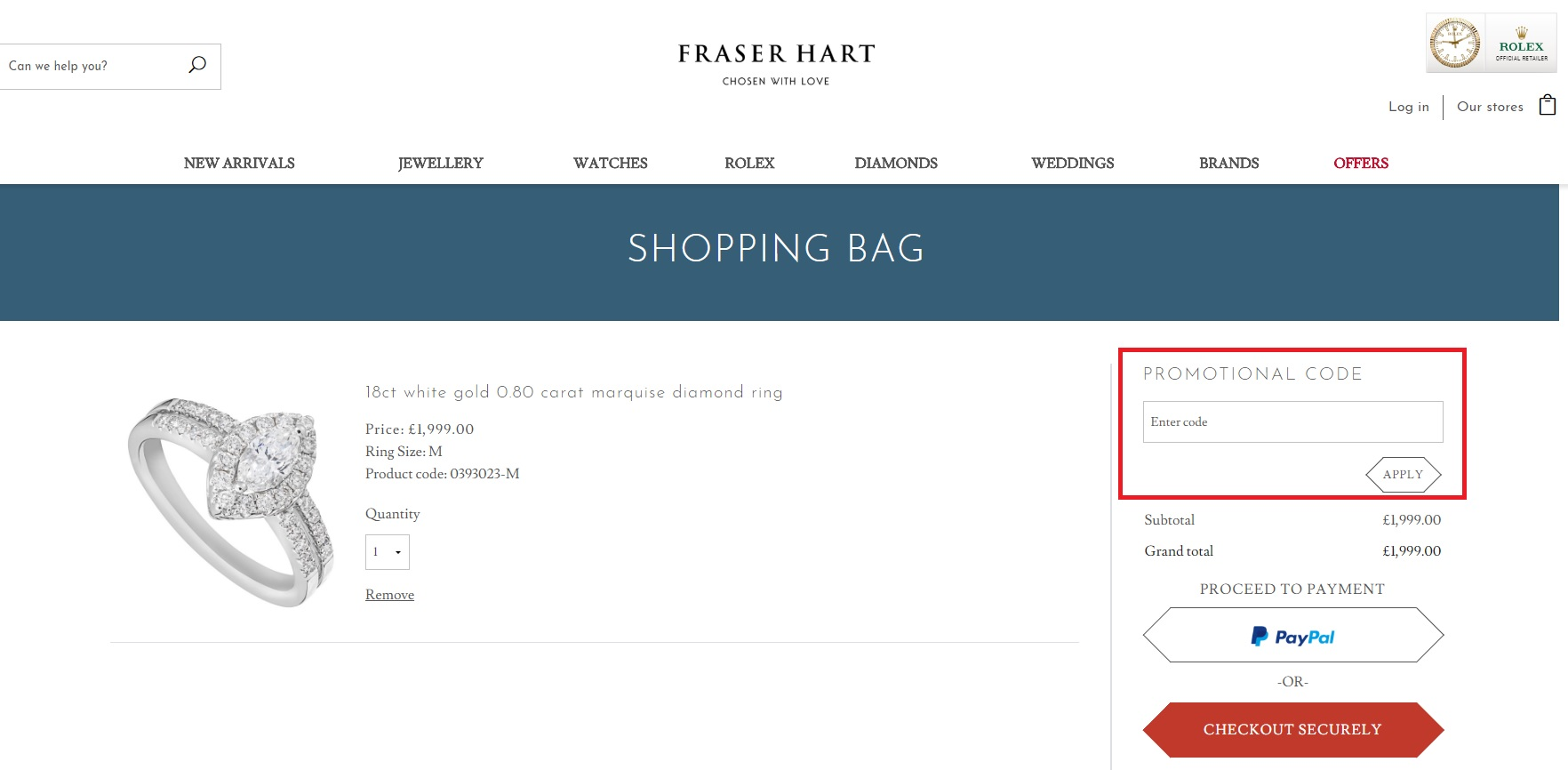 Fraser Hart Voucher Code Basket